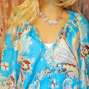 Venus blue paisley blouse